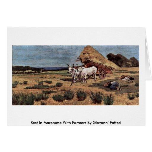Rest In Maremma With Farmers By Giovanni Fattori Greeting Card