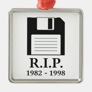 Rest in Peace RIP Floppy Disk Metal Ornament