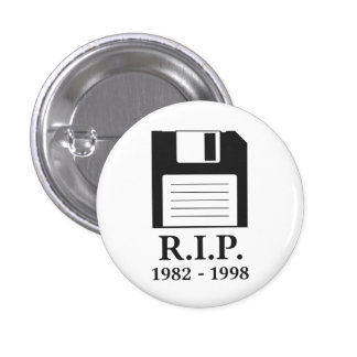 Rest in Peace RIP Floppy Disk Pinback Button