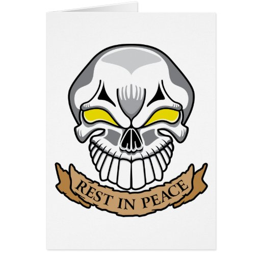 Rest In Peace Skull Card