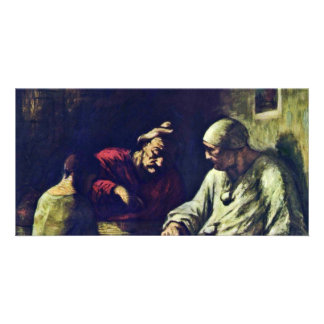 Rest Of Jugglers By Daumier Honoré Custom Photo Card