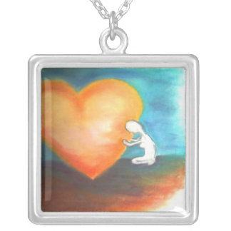Rest on God's Heart necklace Square Pendant Necklace