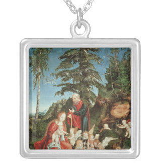 Rest on the Flight into Egypt, 1504 Square Pendant Necklace