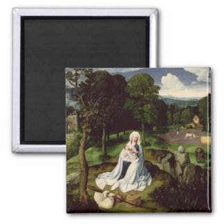 Rest on the Flight into Egypt 2 Inch Square Magnet