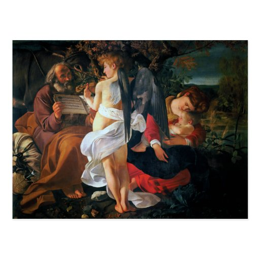 Rest on the Flight into Egypt, Caravaggio Postcard