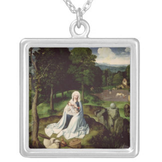 Rest on the Flight into Egypt Square Pendant Necklace