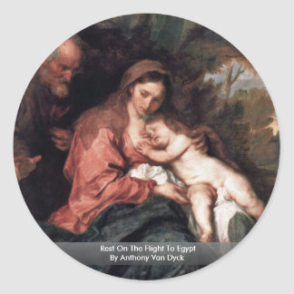Rest On The Flight To Egypt By Anthony Van Dyck Round Stickers