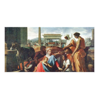 Rest On The Flight To Egypt By Poussin Nicolas Photo Card