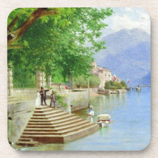 Rest on the lake by Fyodor Bronnikov Beverage Coasters