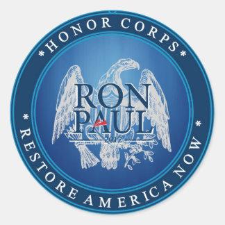 Restablecimiento América de Ron Paul ahora Pegatina Redonda