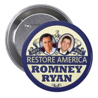 Restablecimiento América: Romney y Ryan Pin Redondo De 3 Pulgadas