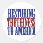 Restauración de Truthiness a América Etiquetas Redondas