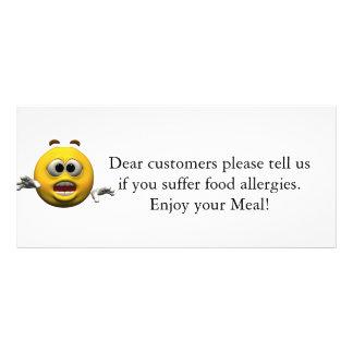 Restaurant Allergy Notice Rack Cards