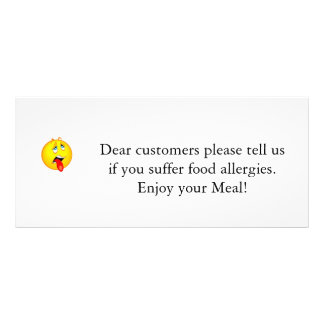 Restaurant Allergy Notice v2.0 Personalized Rack Card