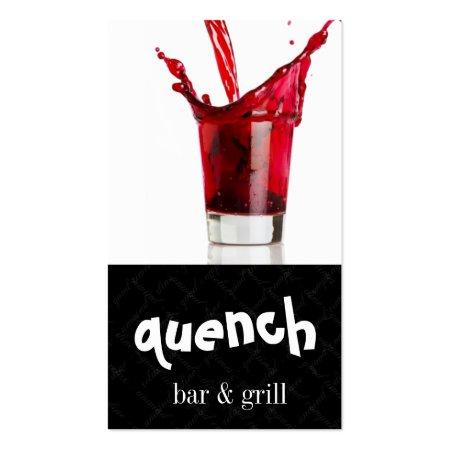 Splash of Red Alcoholic Beverage Bartender Business Cards