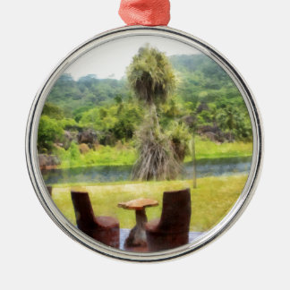 Restaurant at the edge of the jungle metal ornament