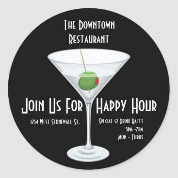 Professional Business Restaurant Bar Happy Hour Advertisement Sticker