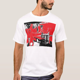 Restaurant Booth in Red T-Shirt
