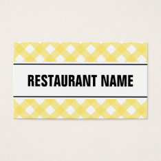 Restaurant Business Card Template | Yellow Plaid at Zazzle