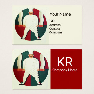 RESTAURANT CHEF COOKING FOOD,CATERING MONOGRAM BUSINESS CARD