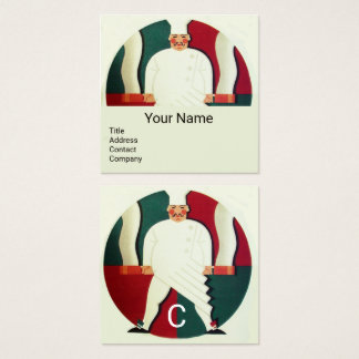 RESTAURANT CHEF COOKING FOOD,CATERING MONOGRAM SQUARE BUSINESS CARD