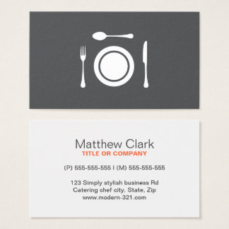 Restaurant, chef or catering. Modern, gray white Business Card