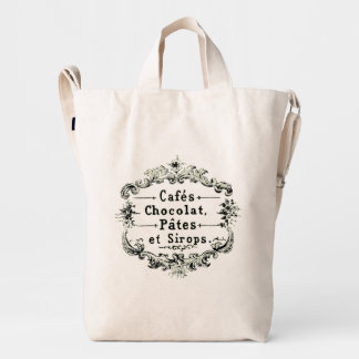 Restaurant Chocolate Syrup Pastry Words French Duck Bag