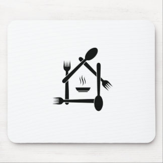 Restaurant designed with forks and spoons mouse pad