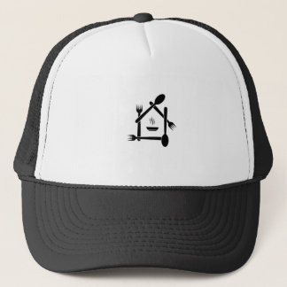 Restaurant designed with forks and spoons trucker hat