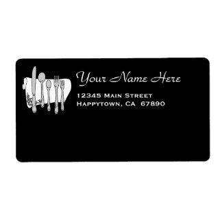 Restaurant Dinnerware on Black Custom Template Label