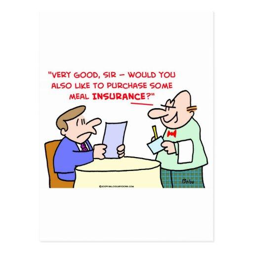 restaurant meal insurance postcard
