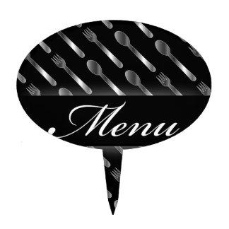 Restaurant menu artwork cake topper