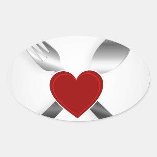 Restaurant menu design with a heart oval sticker