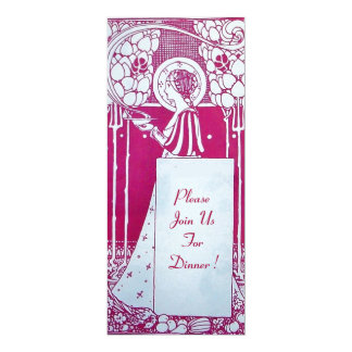 RESTAURANT MENU MONOGRAM Pink White Dinner,Brunch Card