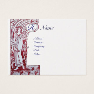 RESTAURANT MONOGRAM 2 red, white pearl paper Business Card