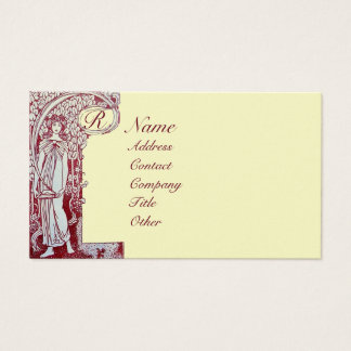 RESTAURANT MONOGRAM Red Brown Cream Pearl Business Card
