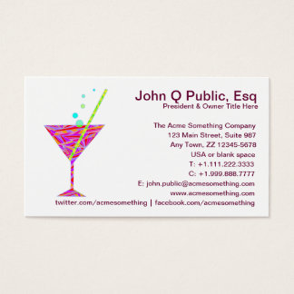 Restaurant Night Club Cocktail Glass Business Card