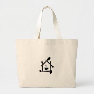 restaurant or a cafe large tote bag