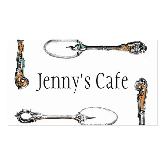 restaurant or cafe business card, antique cutlery Double-Sided standard business cards (Pack of 100)