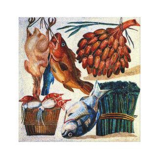 Restaurant  Rural Country Kitchen Fish Mosaic Art Canvas Print