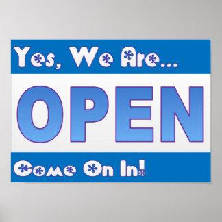 Restaurant Supplies Blue Open Sign Posters
