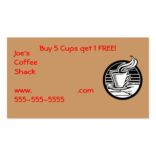 Restaurant Supplies Coffee Club Card Double-Sided Standard Business Cards (Pack Of 100)