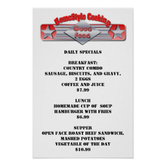 Restaurant Supplies Home Style Cooking Poster