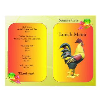 Restaurant Supplies Lunch Menu Sunrise Rooster Flyer
