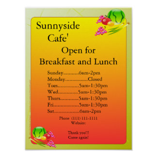 Restaurant Supplies Open Sign Sunnyside Print