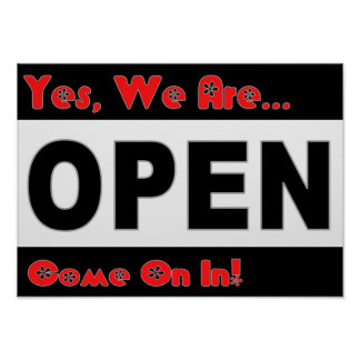 Restaurant Supplies Red and Black Open Sign Print