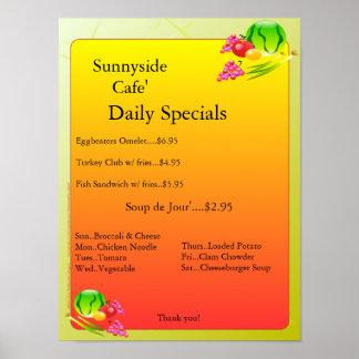 Restaurant Supplies Sunnyside poster sample menu