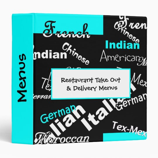 letter stamp restaurant take out menu binder zazzle 23154