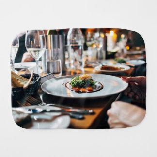 Restaurant Themed, Restaurant Table Filled Wiith G Baby Burp Cloth