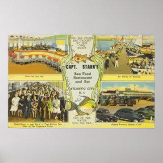 Restaurant y barra Atlantic City, VI de capitán St Poster